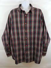PJ Mark Men's Long Sleeve Button Down Shirt Size 2XL Black Red Plaid Dress Club