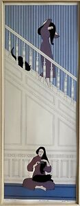 Will Barnet White Staircase Mini Poster Offset Lithograph Black Cat 16x11
