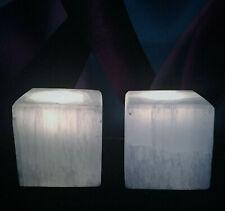 "Two 3"" Selenite Candle Tea Light Holders - decor feng shui meditation ambiance"