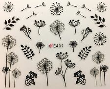 Nail Art 3D Decal Stickers Black Sketch Dandelion Flowers E401