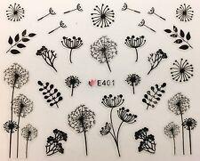 Nail Art 3D Decal Stickers Black Sketch Dandelion Flowers E401