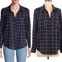 Joie Classic Plaid Button Down Shirt Womens Size Medium Navy Midnight Blouse Top