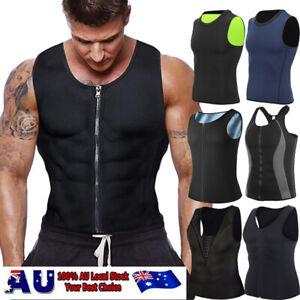 Men's Zipper Body Shaper Waist Trainer Slimming Sauna Sweat Shirt Gym Shapewear