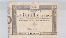 Assignat 10 000 Francs 18 Nivôse An 3 Série 2091 n° 149 Pick A82