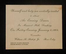 1904 Evening Dance Massasoit Hall Bishop Eaby Taylor's Orchestra Strasburg PA