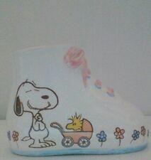 Vintage Peanuts Snoopy & Woodstock Ceramic Baby Shoe Planter Near Mint