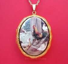 Porcelain CHICKENS ROOSTER & HENS CAMEO Costume Jewelry Locket Pendant Necklace