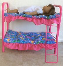 AMERICAN GIRL DOLL BUNK BEDS PINK METAL WITH BEDDING RETIRED EUC
