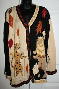 Storybook Knits 3x V Neck Sweater Cardigan Regal Leaf Lion Leopard Animal Print