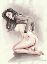 Original Aquarell 30x40, Zeichnung, Caput Mortuum 4, Akt, nu, nude, Erotik Akt