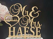 Wedding Cake topper, Mr & Mrs  Cake topper, Personalized heart Topper,