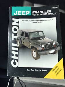 Chilton jeep wrangler 1987-17 repair manual 40650