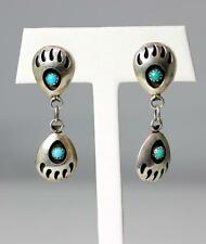 Claw Dangle Earrings 1.25� – 7312 Native American Sterling Silver Turquoise Bear