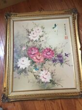 Vintage Estate Original Floral Painting Oriental Signed Beautiful Birds