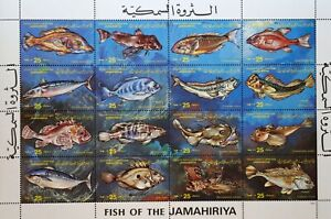 LIBYA- -FISHES-,16St.in M/Sh.1981.MNH**LIB 08