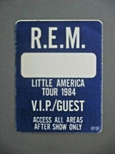 REM backstage pass satin cloth stickers TWO Little America 1984 OTTO !