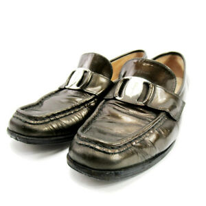 Salvatore Ferragamo loafers Vala fitting leather Auth used D2194
