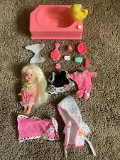 Vintage 1990's Barbie Kelly Baby Bath Time Fun Accessories Robe Clothes Diaper