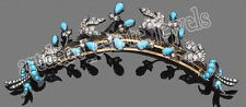 2.05ct ROSE CUT DIAMOND TURQUOISE ANTIQUE VICTORIAN LOOK 925 SILVER BROOCH PIN