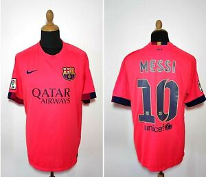 FC Barcelona Messi Jersey XL Authentic 2014-15 Third Kit Qatar Pink Shirt Nike