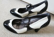 SIZE 6 39 Vintage 30's 40s Style Black Cream Mary Jane Brogue Rockabilly Shoes