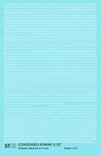 K4 HO Decals White 3/32 Inch Condensed Roman Letter Number Alphabet Set