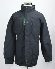 NWT Lauren Ralph Lauren Men's Rain Coat 46L XL Black Hidden Hood Jacket MSRP$325