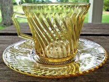 Depression Glass Diana Pattern Cup & Saucer Set Amber Federal Glass 1937-41