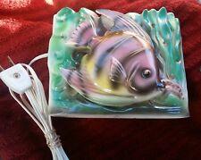 Vintage Television TV Lamp Fish Bubbles Colorful Japan Handpainted - MINT!