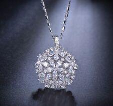 18k White Pendant Necklace made w Swarovski Crystal Stone Bridal Wedding Jewelry