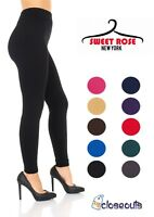 2pk Womens Fleece Lined Solid Colors Winter Thick Warm Thermal Stretchy Leggings