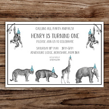 10 *PERSONALISED* party SAFARI ANIMALS theme birthday invitations invites
