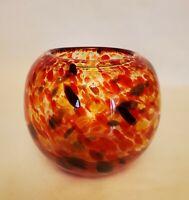 "Hand Blown Art Glass Round Rust Orange Swirl Confetti Vase 5"" Beautiful heavy"