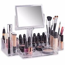 Beautify Clear Acrylic Cosmetics Makeup Storage Case Display with Double Mirror
