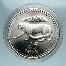 1987 MONGOLIA Endangered WWF Snow Leopard Genuine Silver 25 Togrog Coin i84095