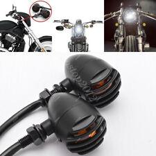 2x Motorcycle Black Lamp Turn Signal Indicator Light For Harley Chopper Bobber