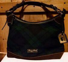 Dooney & Bourke Green/Navy Tartan Plaid Wool Shoulder Bag Adjustable-Preowned