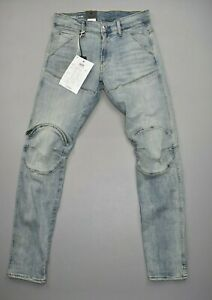 G-Star RAW Men's denim 5620 3D Zip Knee Skinny Jeans Sun Faded Ripped Size 30/32