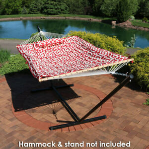 Sunnydaze Outdoor Polyester Quilted Hammock Pad and Pillow Only Set - Royal Red