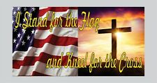 I Stand for the Flag Kneel for the Cross Bumper sticker decal America Support