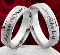 2 Trauringe Eheringe mit Rhodolit Hochzeitsringe 925 Silber mit Lasergravur RL43