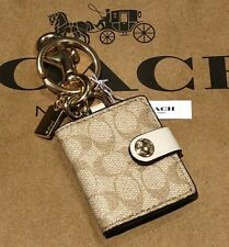Coach Picture Frame Bag Charm Keychain in Signature Canvas  Gold Tone Hardware