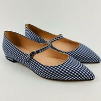 J.CREW NWT Pointed Toe Mary Jane Flats Gingham Leather Shoes Navy Sz 7, 7.5, 8