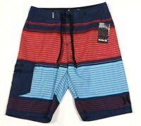 Hurley Blue & Red Stripe Highway Boardshorts Swim Trunks Board Shorts Men's NWT