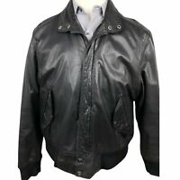 Vintage Members Only Bomber Jacket Size 44 Black Leather Full Zip Button Pockets