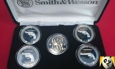 Stunning Smith & Wesson Pistol Revolver Guns Silver Proof Coin Medal Collection