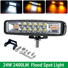 6 Inch 24W White + Amber Flash Strobe Led Work Light Waterproof  For Car Truck