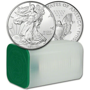2021 American Silver Eagle 1 oz $1 - 1 Roll - Twenty 20 BU Coins in Mint Tube