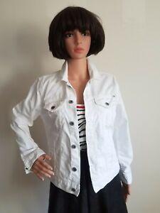 LUCKY BRAND Womens Tomboy Trucker Jacket M White Denim Jean Cotton