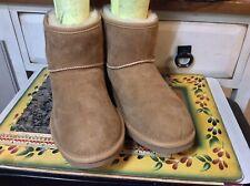 LL BEAN  Shearling Sheepskin Brown ankle Boots Womens Size 7M- EUC